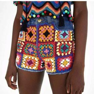Farm Rio Denim Shorts Crochet Squares